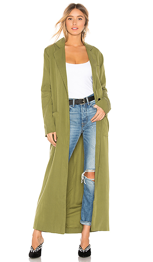 House of Harlow 1960 x REVOLVE Cheryl Maxi Coat in Olive. Size XS,S.