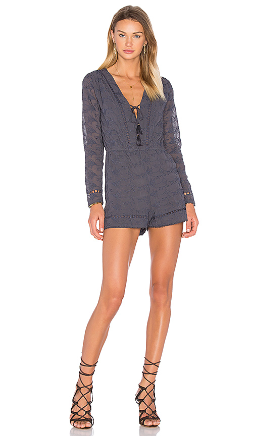 House of Harlow 1960 x REVOLVE Mila Long Sleeve Romper in Navy. - size XL (also in L,S)