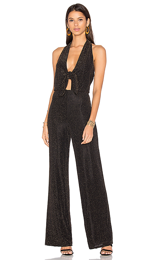 House of Harlow 1960 x REVOLVE Coco Jumpsuit Black & Gold in Black. - size L (also in M,XL)