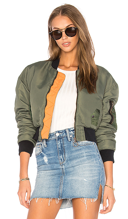 Hudson Jeans Rogue Cropped Bomber in Olive