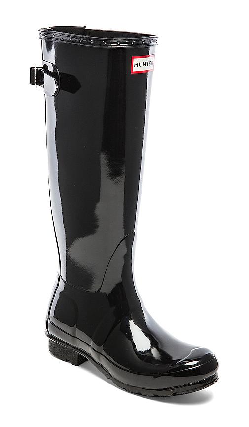 Hunter Original Back Adjustable Gloss Rain Boots in Black