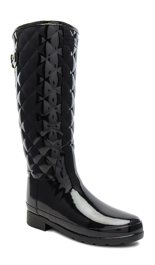 Hunter Refined Gloss Quilt Tall Boots in Black