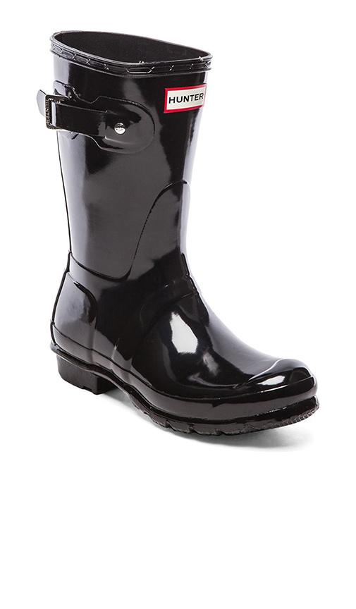 Hunter Original Short Gloss Boots in Black