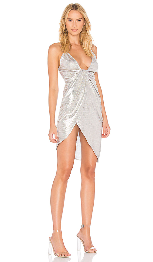 h:ours Darcy Dress in Metallic Gold