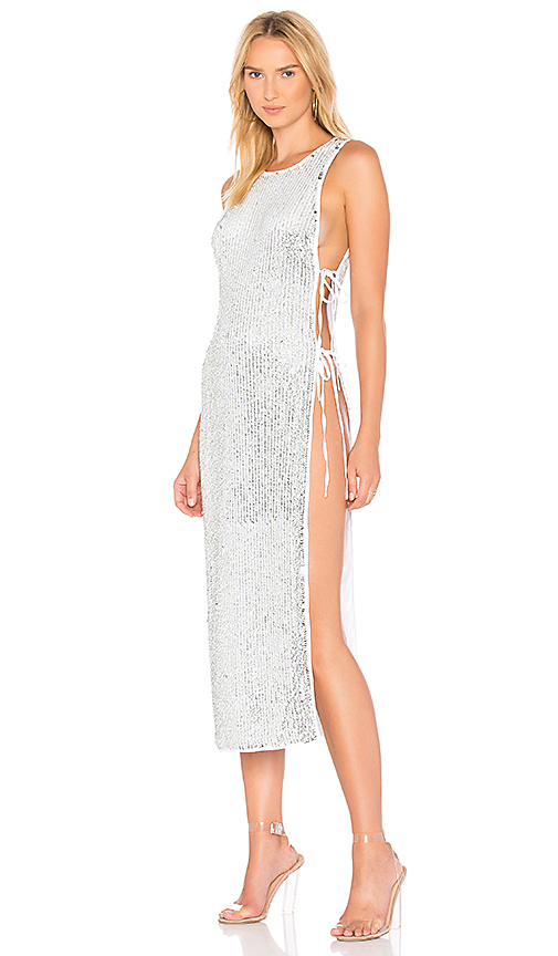Photo of h:ours x REVOLVE Ruby Maxi in Metallic Silver - shop h:ours dresses sales