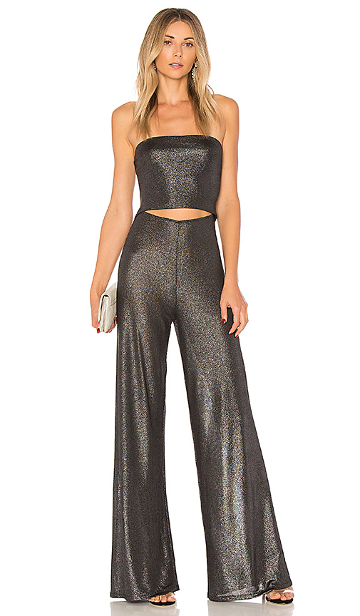 h:ours On The Level Jumpsuit in Metallic Silver. - size M (also in S,XS, XXS)
