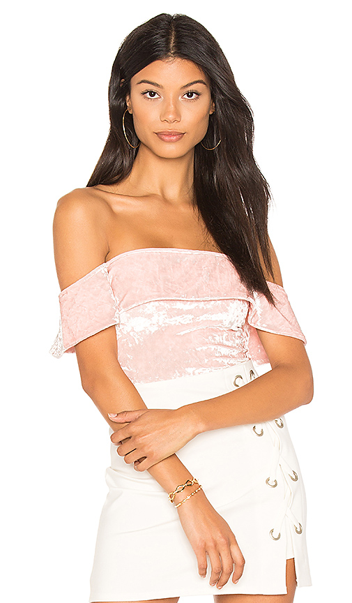 h:ours Off Shoulder Cheeky Bodysuit in Pink