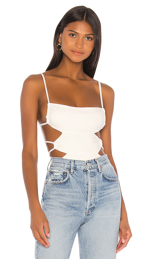 h:ours Mindy Bodysuit in White. - size S (also in L,M,XL,XS,XXS)