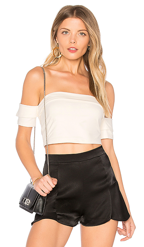 h:ours Reed Off Shoulder Top in Ivory
