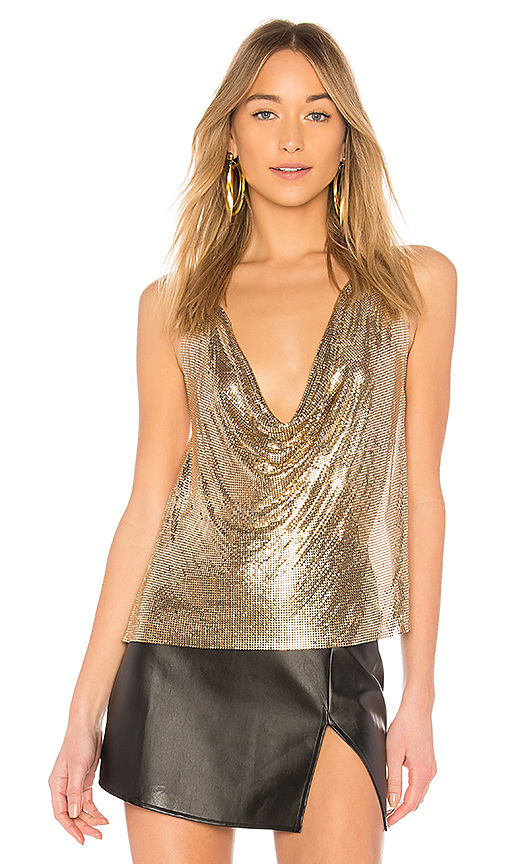 h:ours Ellie Top in Metallic Gold