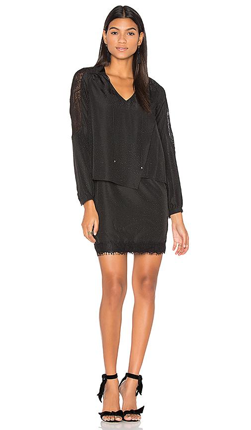IKKS Paris Long Sleeve Lace Hem Wrap Dress in Black. - size 36/4 (also in 38/6)