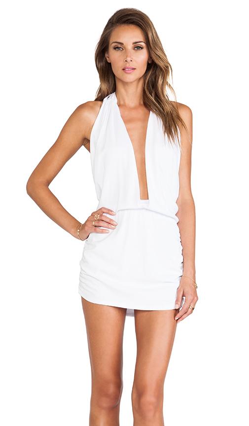 Indah Joey Deep V Halter Dress in White