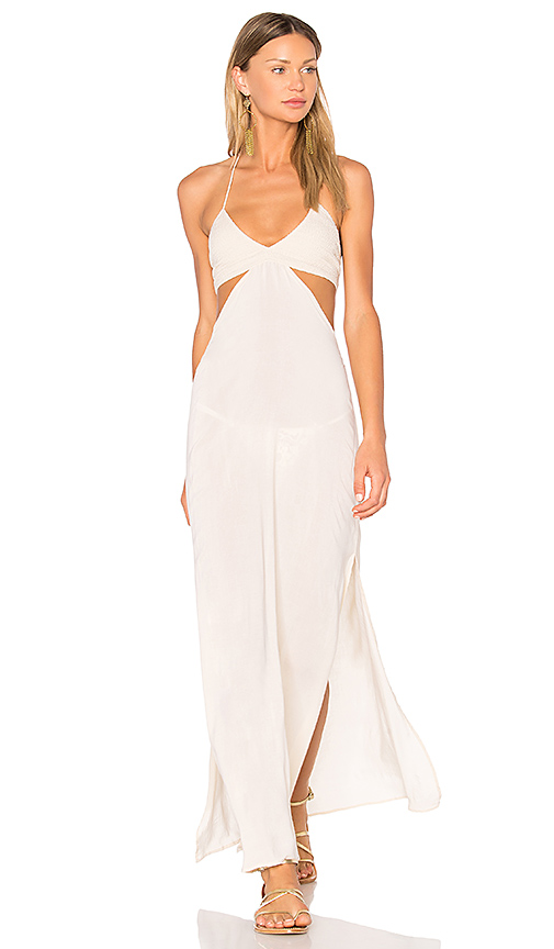 Indah Blaze Cutaway Maxi Dress in Beige