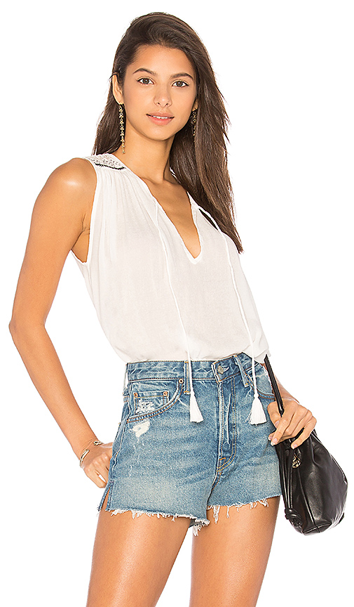 Indah Saint Embroidered Tank in Ivory