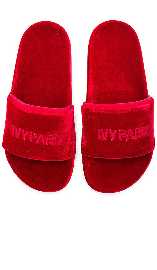 IVY PARK Velvet Sandals in Red