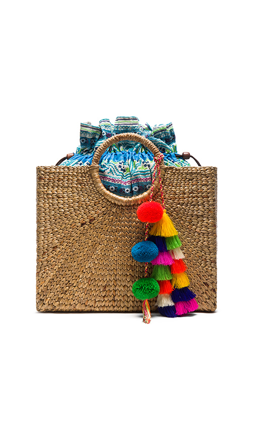 JADEtribe Multi Tassel Square Basket Tote in Tan