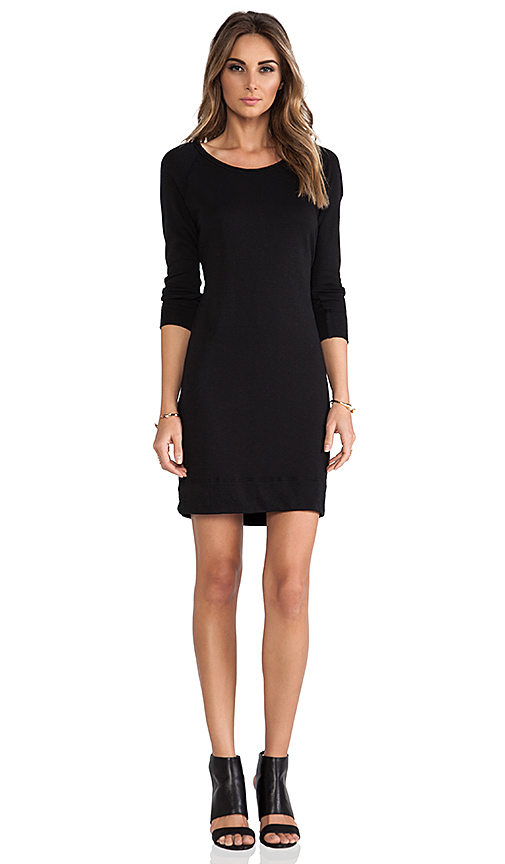 James Perse Raglan Sweatshirt Dress in Black
