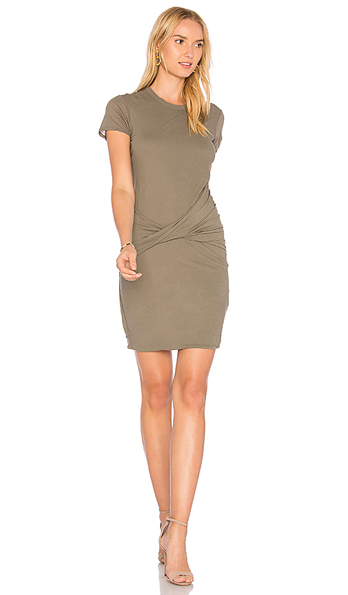 James Perse Twisted Drape Dress in Green