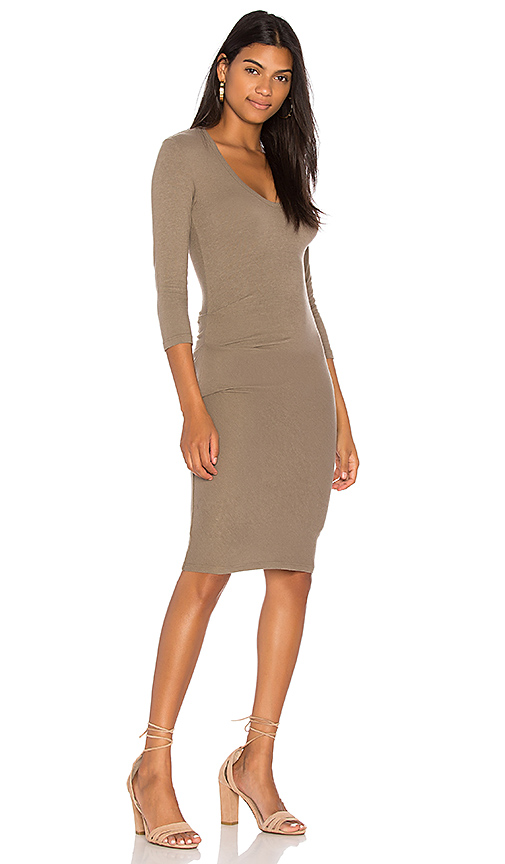James Perse Skinny Tucked Dress in Green