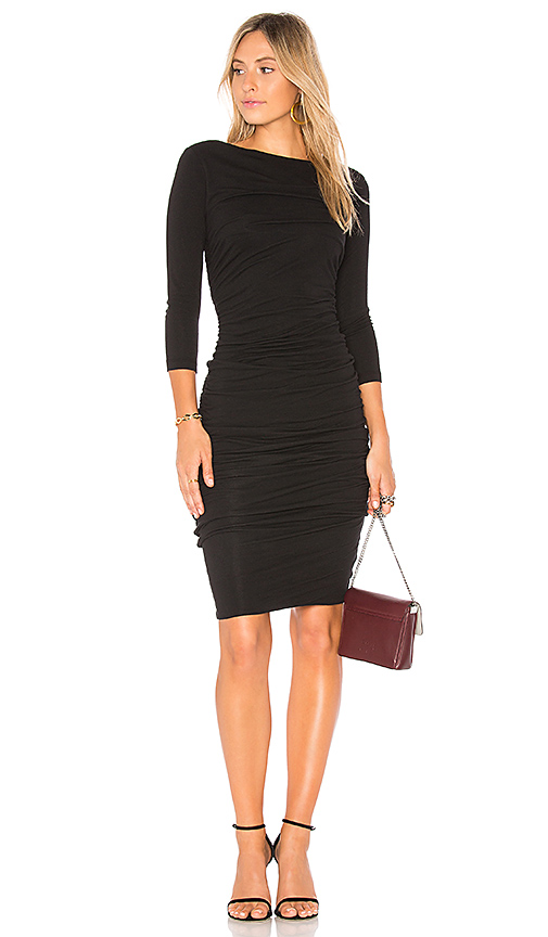 James Perse Double Shirred Boatneck Dress in Black