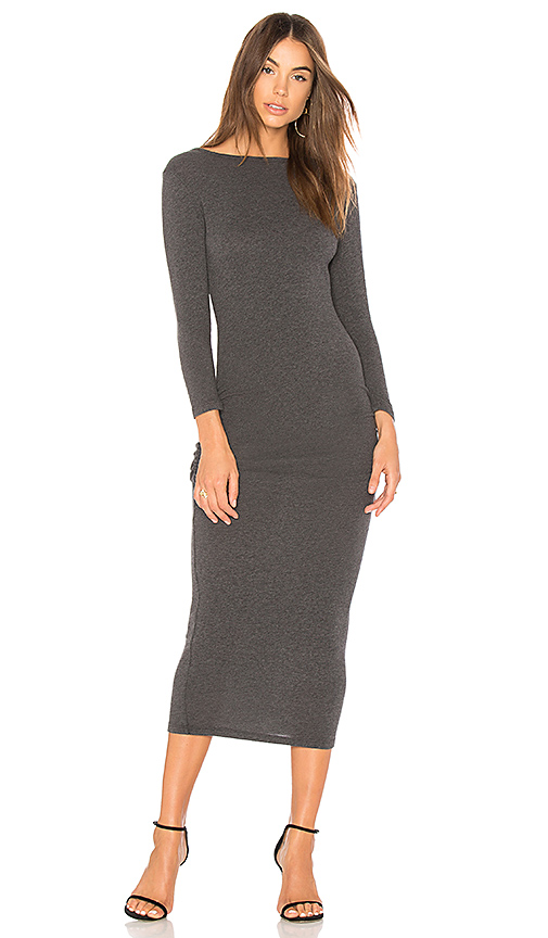 James Perse Low Back Skinny Dress in Gray