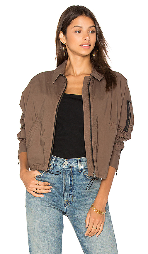 James Perse Batwing Bomber Jacket in Army. - size 0 (XXS/XS) (also in 1 (XS/S),2 (S/M),3 (M/L))