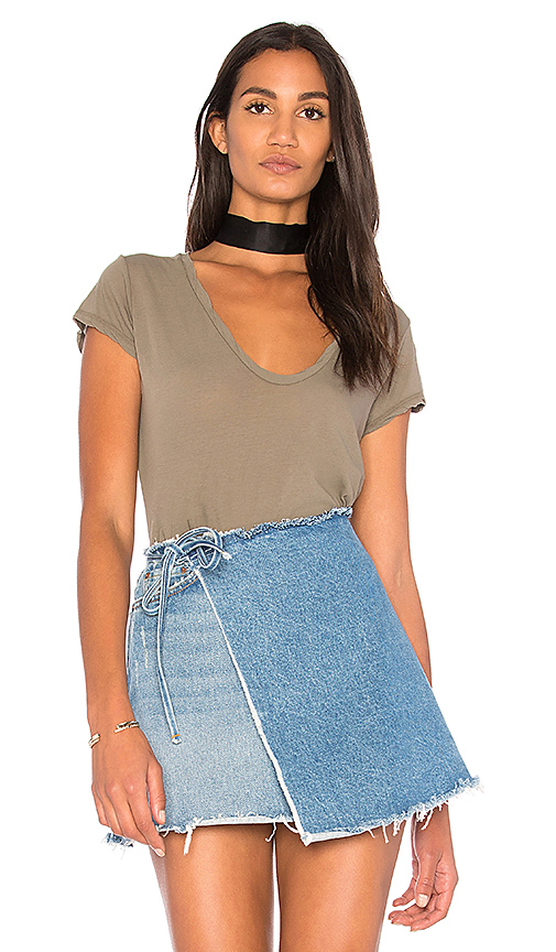 James Perse Deep V Tee in Green