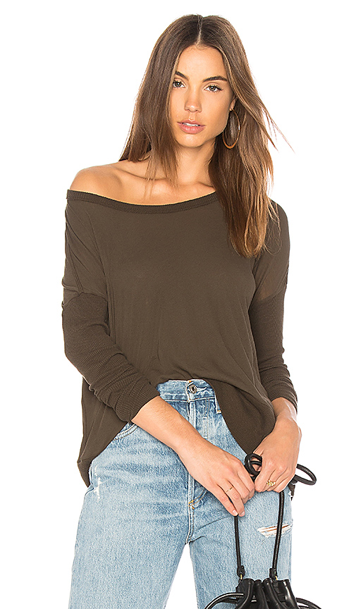 James Perse Contrast Rib Pullover Tee in Olive