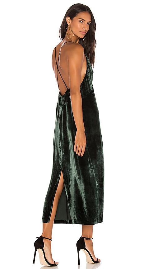 J Brand Blessing Velvet Midi Dress in Green