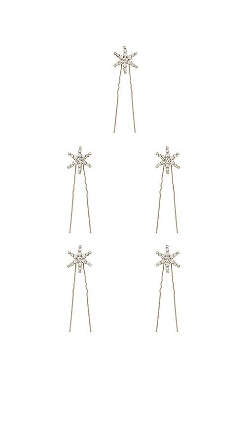 Jennifer Behr Set of Crystal Hair Pins in Metallic Silver