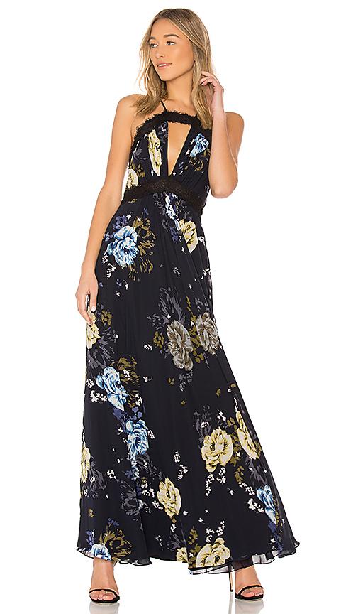 JILL JILL STUART Lace Trim Cut Out Gown in Black