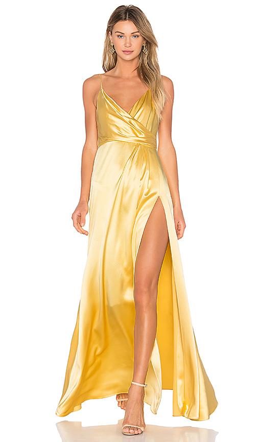 JILL JILL STUART Wrap Gown in Yellow