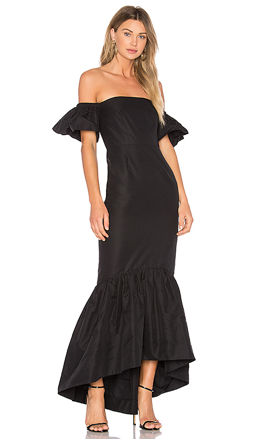 JILL JILL STUART Ruffle Off the Shoulder Maxi Dress in Black