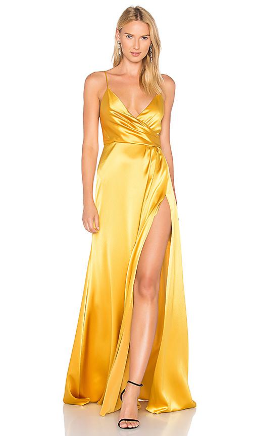 JILL JILL STUART Wrap Gown in Metallic Gold