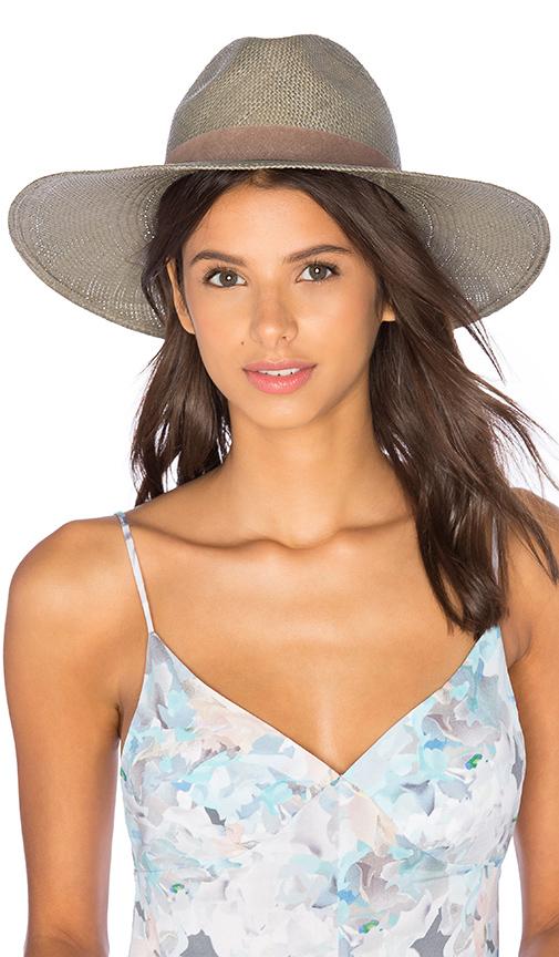 Janessa Leone Angelica Wide Brimmed Panama Hat in Sage