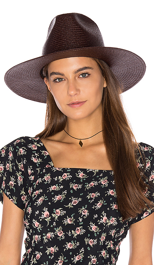 Janessa Leone Maya Panama Hat in Brown. - size M (also in S)