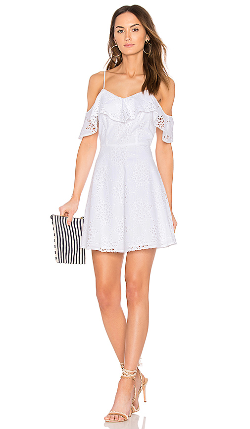 JOA Cold Shoulder Fit & Flare Lace Dress in White