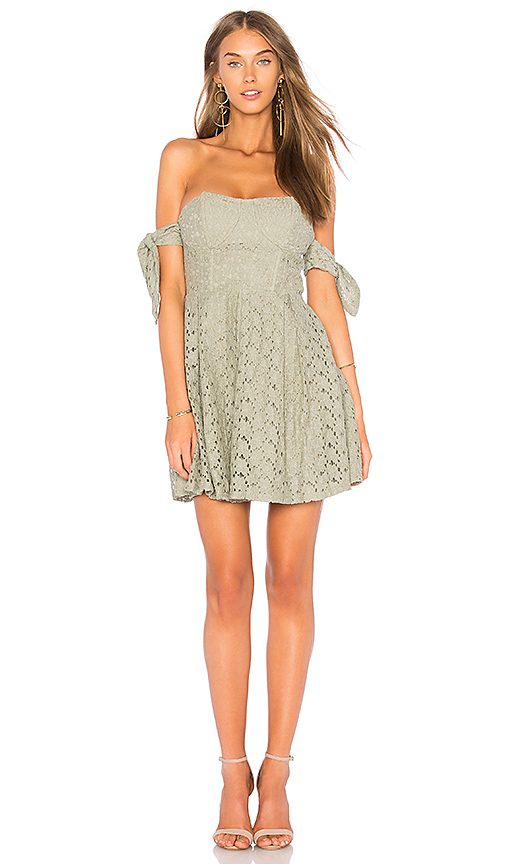 JOA Off The Shoulder Sleeve Tie Lace Dress in Olive