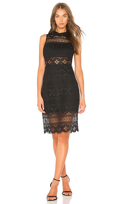 J.O.A. Mock Neck Lace Dress In Black in Black