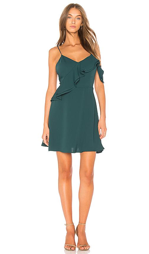 JOA Double Ruffle Fit & Flare Dress In Green in Green
