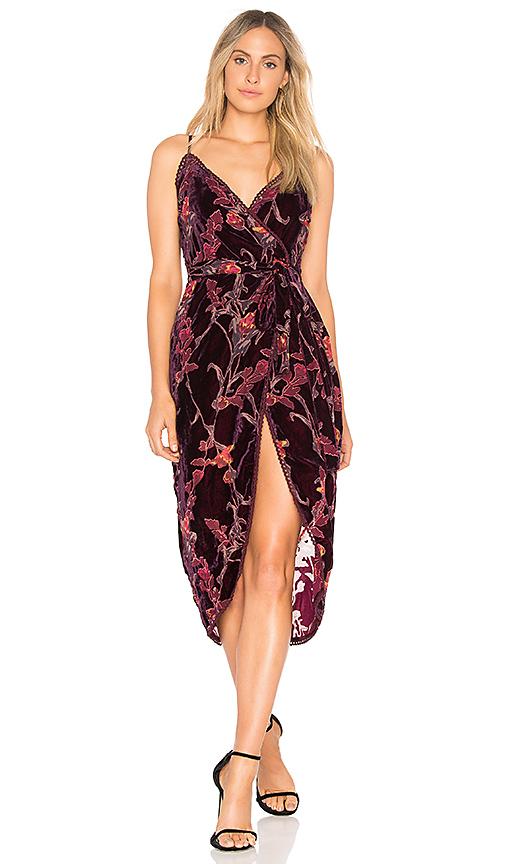 J.O.A. Burnout Velvet Wrap Dress in Burgundy. - size L (also in S,XS,M)
