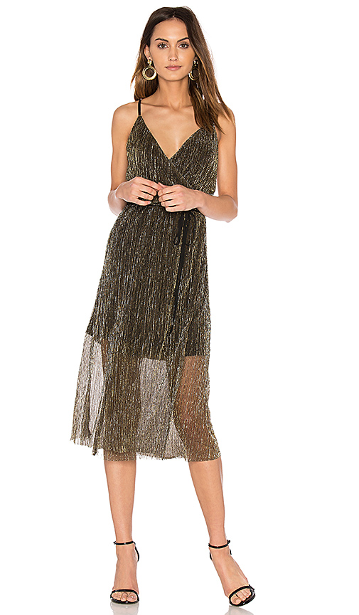 J.O.A. Sleeveless Wrap Dress in Metallic Gold. - size L (also in M,XS)