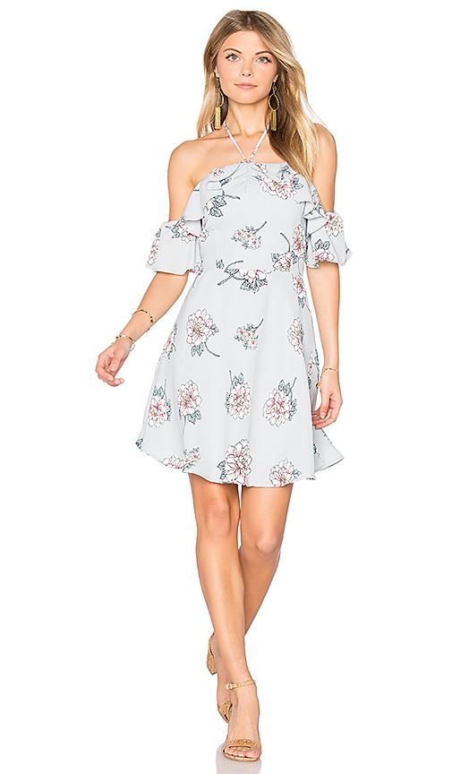 J.O.A. Off Shoulder Mini Dress in Gray