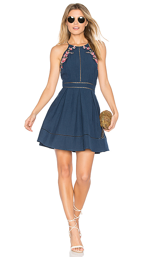 JOA Flower Embroidery Dress in Navy