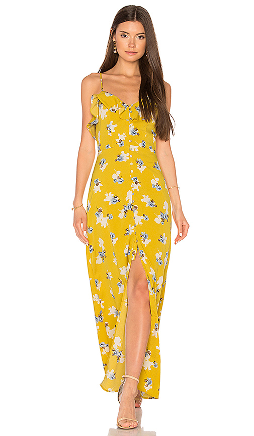 JOA Flower Print Button Down Maxi in Yellow
