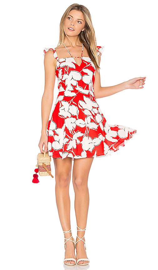 JOA Flower Print Dress With Ruffle Shoulder in Red