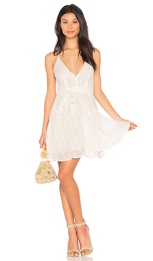JOA Low Neck Strappy Dress in White