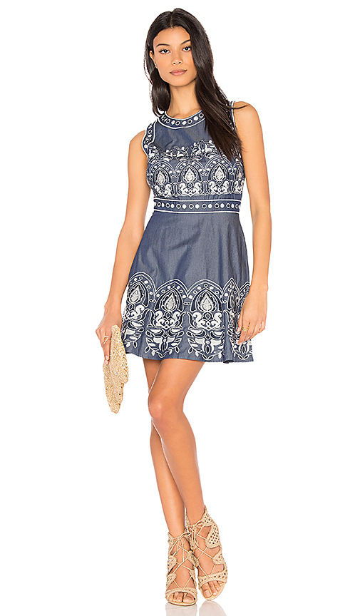 JOA Embroidered Fit And Flare Dress in Blue