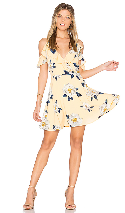 JOA Flower Print Cold Shoulder Flare Dress in Yellow