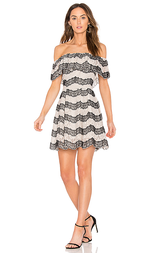JOA Tiered Off The Shoulder Lace Dress in Light Gray